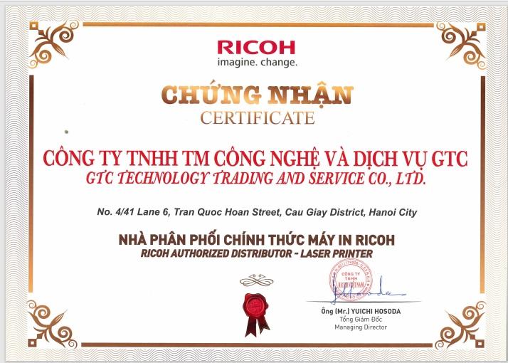 đại lý phân phối máy in mực chính hãng ricoh GTC
