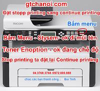 Hướng dẫn đặt lại chế độ Stop printing sang Continue printing của máy in ricoh